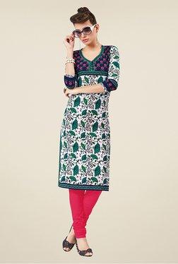 Salwar Studio Green & White Floral Print Unstitched Kurti