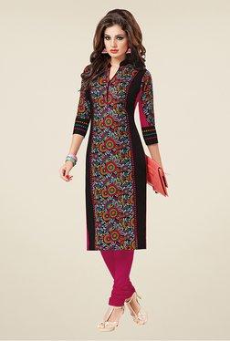 Salwar Studio Black & Pink Floral Print Unstitched Kurti