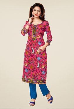 Salwar Studio Pink Floral Print Unstitched Kurti
