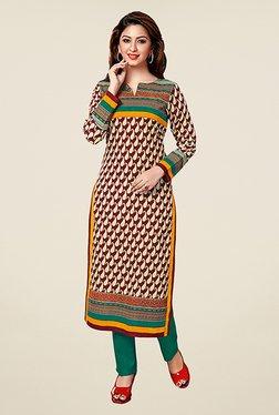 Salwar Studio Brown & Green Paisley Print Unstitched Kurti