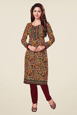 Salwar Studio Maroon & Beige Floral Print Unstitched Kurti