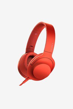 Sony MDR-100AAP Over the Ear Headphones With Mic (Red)