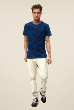 Threadbare Blue Printed Crew Neck T Shirt