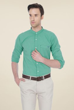 Basics Sea Green Solid Shirt - Mp000000000336373