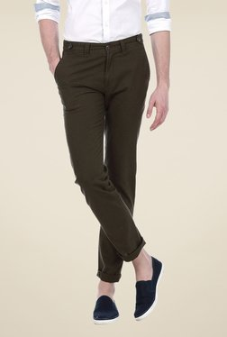 Basics Olive Solid Mid-rise Trousers