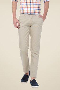 Basics Beige Solid Trousers