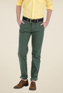Basics Green Solid Trousers