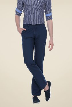 Basics Navy Solid Slim-fit Trousers