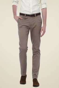 Basics Khaki Solid Mid-rise Trousers