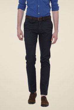 Basics Navy Solid Mid-rise Trousers