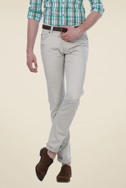 Basics Grey Solid Low-rise Trousers