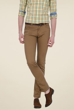 Basics Khaki Solid Low-rise Trousers