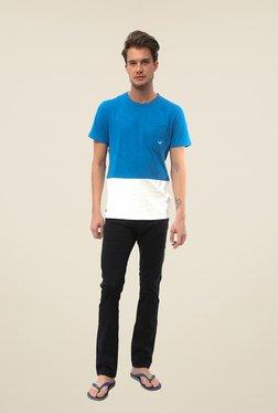 Threadbare Blue Solid Crew Neck T Shirt