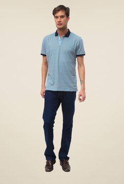 Threadbare Blue Printed Shirt Collar T Shirt