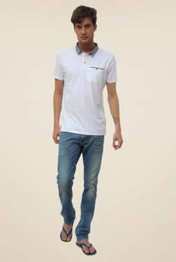 Threadbare White Button Down Collar Solid T Shirt