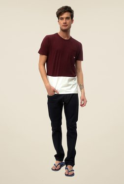 Threadbare Maroon Solid Crew Neck T Shirt