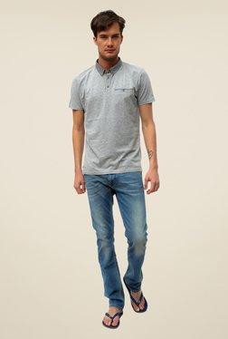 Threadbare Grey Solid Button Down Collar T Shirt
