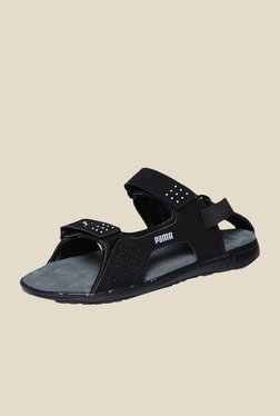 TATACLIQ. Puma Endeavour DP Black   Steel Grey Floater Sandals a74feccde
