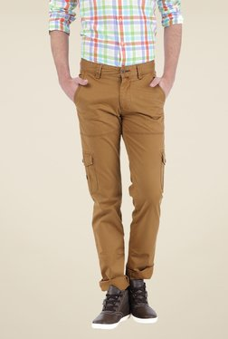 Basics Brown Solid Cargos - Mp000000000339171