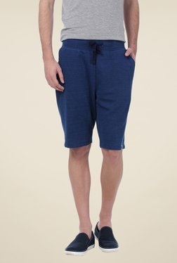 Basics Navy Solid Shorts - Mp000000000340369