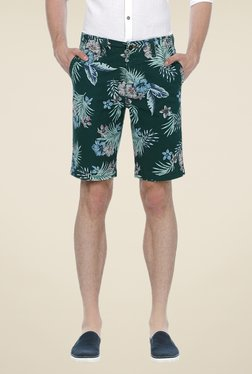 Basics Dark Green Tropical Print Shorts