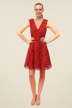FCUK Red Printed Dress