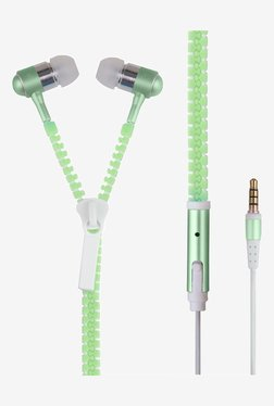 Generic Luminous Zipper In the Ear Earphones (Green)