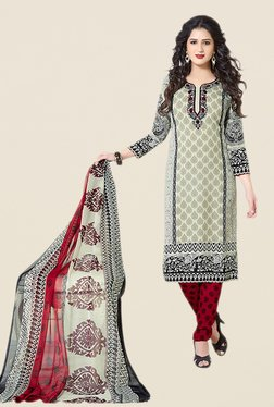 Salwar Studio Beige & Maroon Floral Print Dress Material