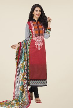 Salwar Studio Maroon & Black Floral Print Dress Material