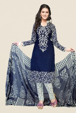 Salwar Studio Navy & Off White Printed Dress Material