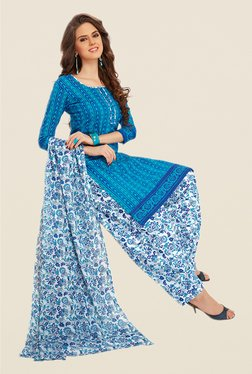 Salwar Studio Blue & White Floral Print Dress Material