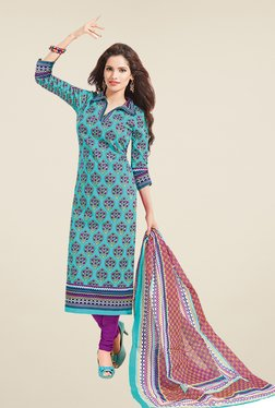 Salwar Studio Blue & Purple Floral Print Dress Material
