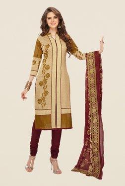 Salwar Studio Beige & Burgundy Floral Print Dress Material