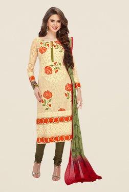 Salwar Studio Beige & Olive Floral Print Dress Material