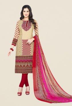 Salwar Studio Beige & Red Floral Print Dress Material