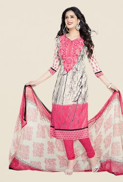 Salwar Studio Beige & Pink Paisley Print Dress Material