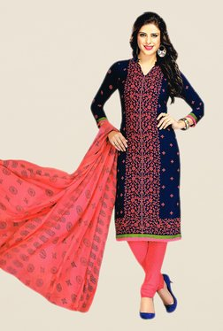 Salwar Studio Blue & Peach Floral Print Dress Material