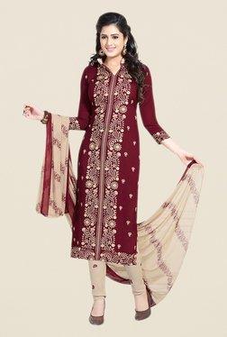 Salwar Studio Maroon & Beige Paisley Print Dress Material