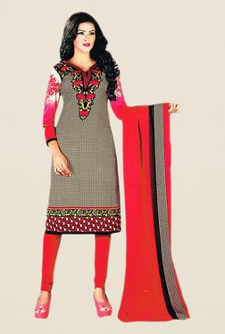 Salwar Studio Beige & Red Floral Print Dress Material