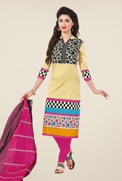 Salwar Studio Yellow & Pink Floral Print Dress Material