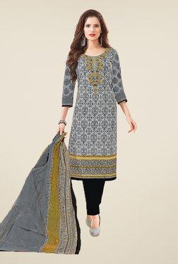 Salwar Studio Grey & Black Floral Print Dress Material