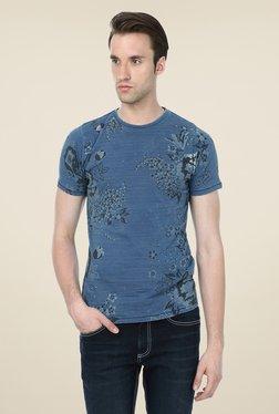 Basics Blue Floral Print Crew T-shirt