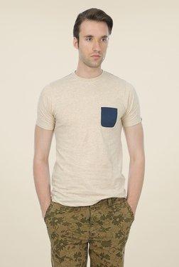 Basics Beige Solid Crew T-shirt
