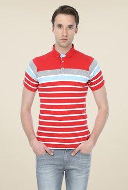 Basics Red Striped Blend Shirt Collar Polo T-shirt