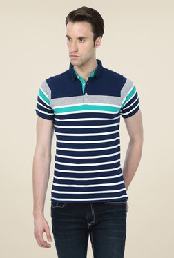 Basics Navy Striped Cotton Short Sleeve Polo T-shirt