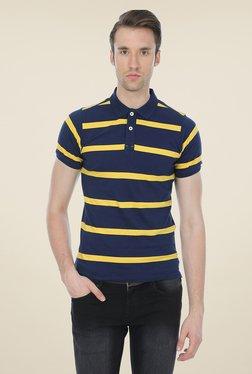 Basics Navy Striped Cotton Polo T-shirt