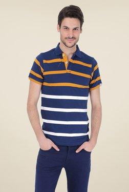 Basics Navy Striped Cotton Shirt Collar Polo T-shirt