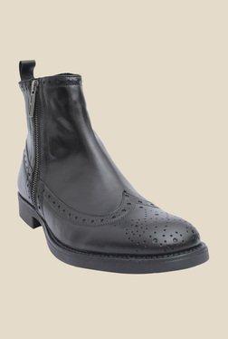 Salt 'n' Pepper Ray Black Brogue Boots