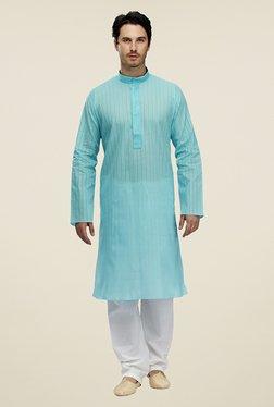 07ec8e47ce9 Manyavar Casual Sky Blue   White Kurta   Pyjama