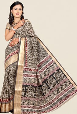 Salwar Studio Black & Beige Floral Print Saree